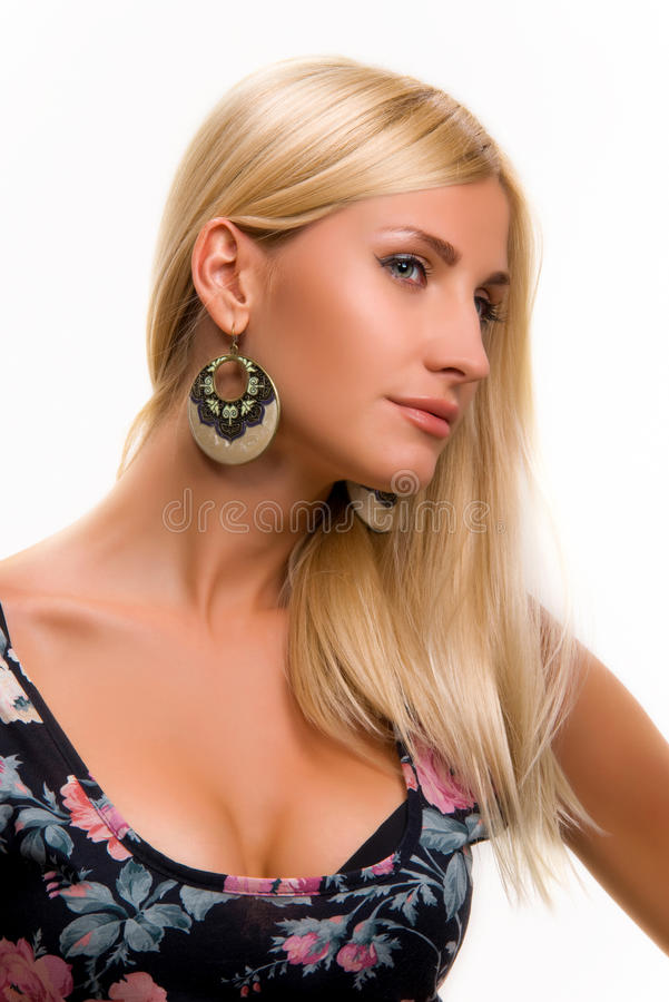 Junge Frau auf einem weißen Hintergrund lizenzfreie stockbilder