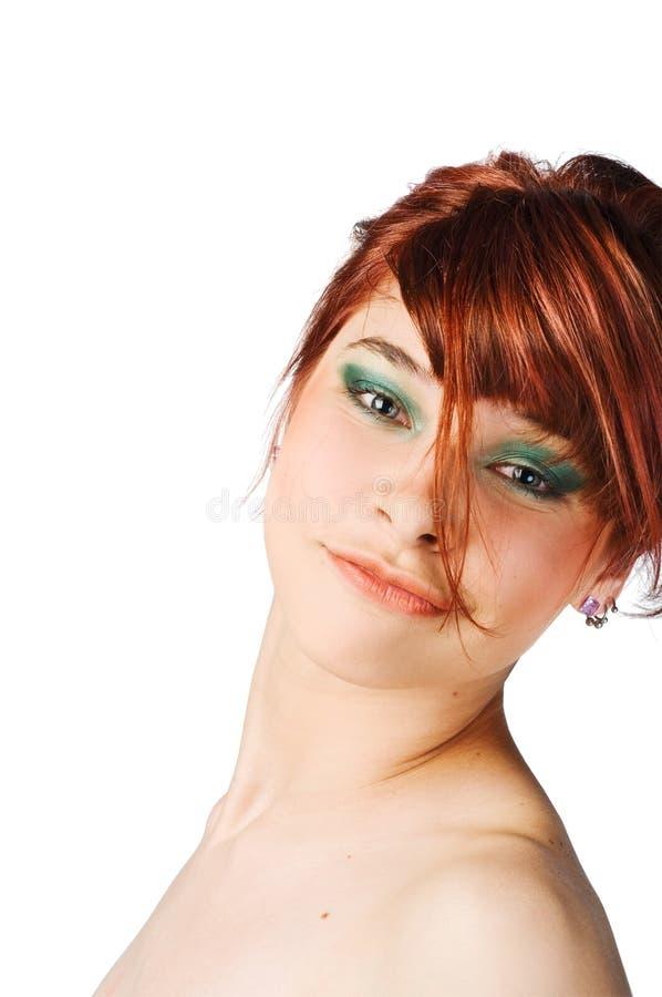 Junge Frau auf weißem Hintergrund lizenzfreie stockfotos