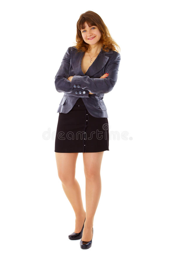 Junge Frau beim Anzuglächeln lizenzfreie stockbilder