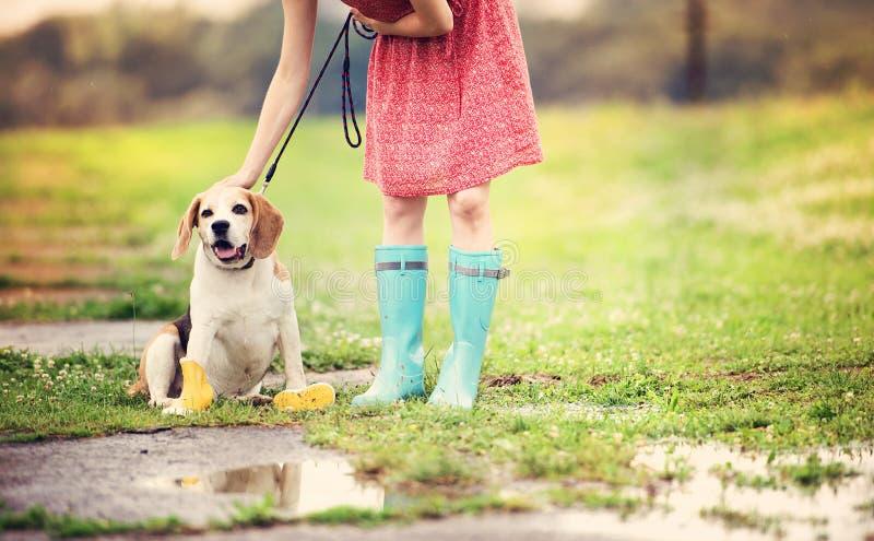 Junge Frau in den Gummistiefeln gehen ihr Hund stockfoto