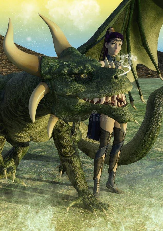 Junge Frau der Fantasie mit einem grünen Drachen stockfoto
