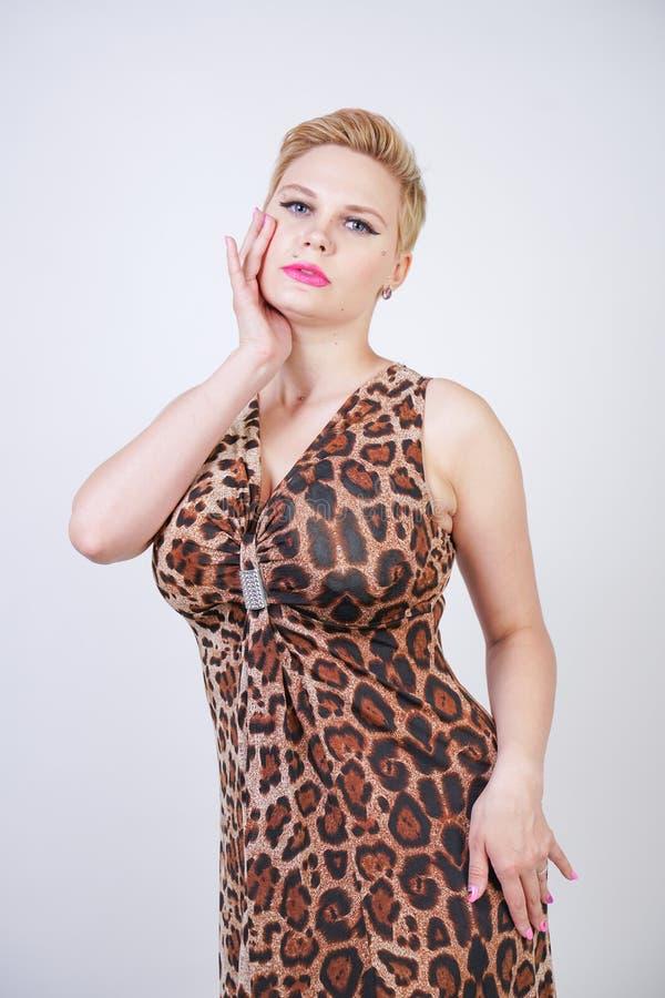Junge Frau der hübschen Plusgröße mit dem kurzen blonden Haar, das mittleres Längensommerkleid mit Tierleoparddruck trägt nettes  lizenzfreies stockfoto