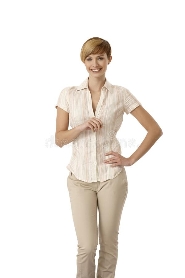 Junge Frau in der zufälligen Kleidung stockbilder