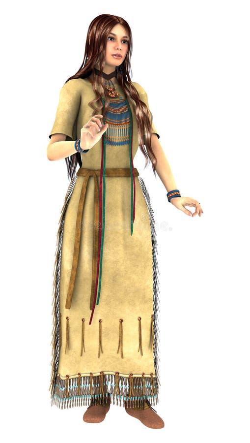 Junge Frau des amerikanischen Ureinwohners vektor abbildung