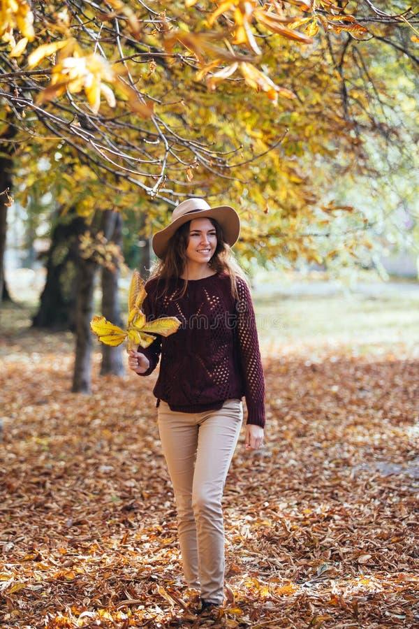 Junge Frau des glücklichen Lächelns, die draußen in Herbstpark in der gemütlichen Strickjacke und im Hut geht Warmes sonniges Wet lizenzfreie stockbilder