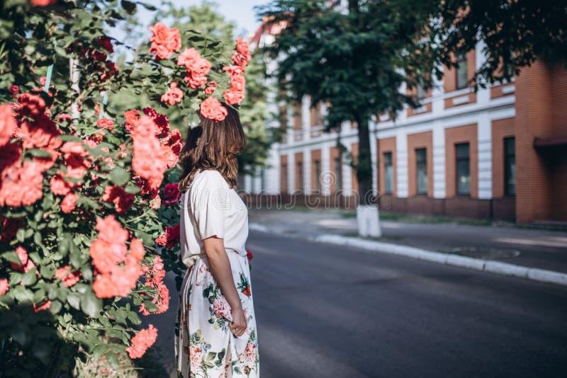 Junge Frau des schönen sinnlichen Brunette in der weißen Bluse und im Rock mit Blumen nah an roten Rosen Sie steht nahe dem Rosen lizenzfreie stockfotos