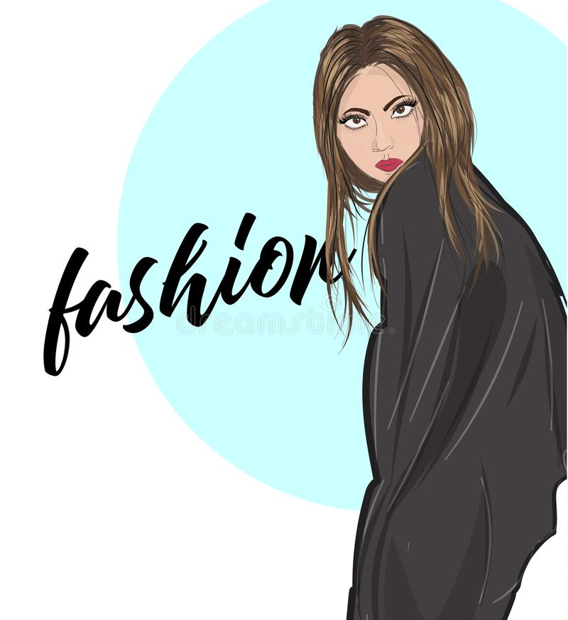 Junge Frau des Vektors im Mantel Art und Weiseabbildung Stilvolle Kleidungsausstattung Art und Weiseblick skizze stock abbildung