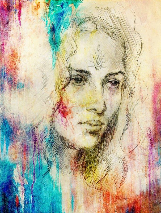 Junge Frau des Zeichnungsporträts mit Verzierung auf Gesicht, Farbmalerei auf abstraktem Hintergrund, Computercollage stock abbildung