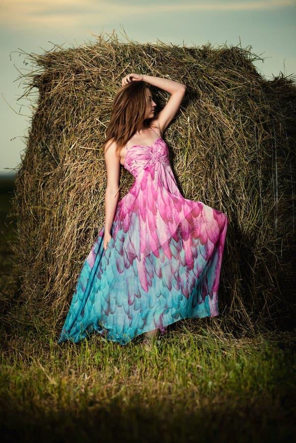 Junge Frau, die auf dem Abendgebiet über Heuschober steht Modeschweinestall stockbilder