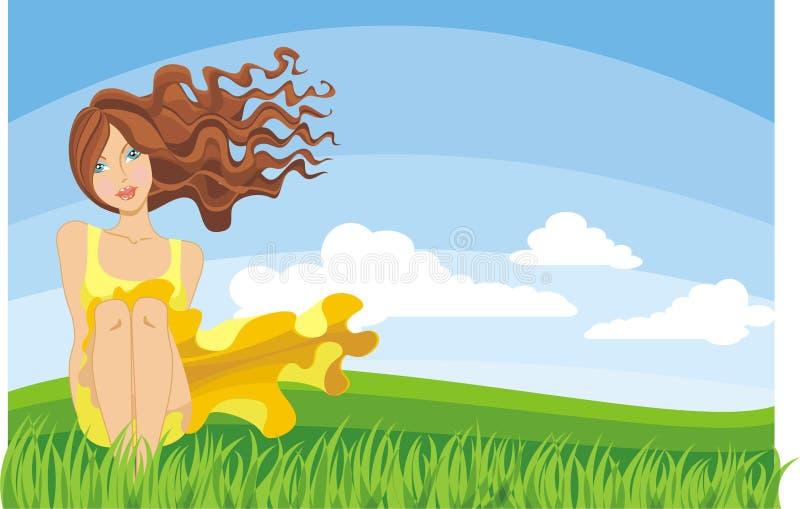Junge Frau, die auf dem Gras sitzt stockfoto