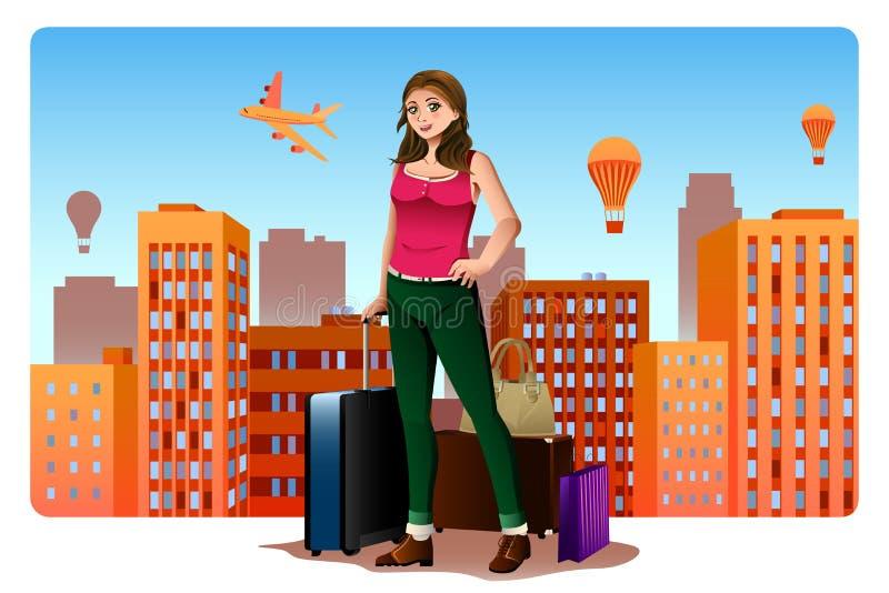 Junge Frau, die auf der ganzen Welt Konzept reist lizenzfreie abbildung