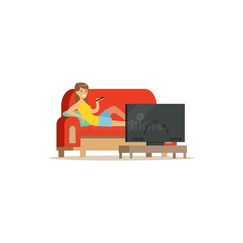 Junge Frau, die auf einem Sofa in einem Wohnzimmer und aufpassenden in einer Fernsehvektor Illustration sitzt stock abbildung