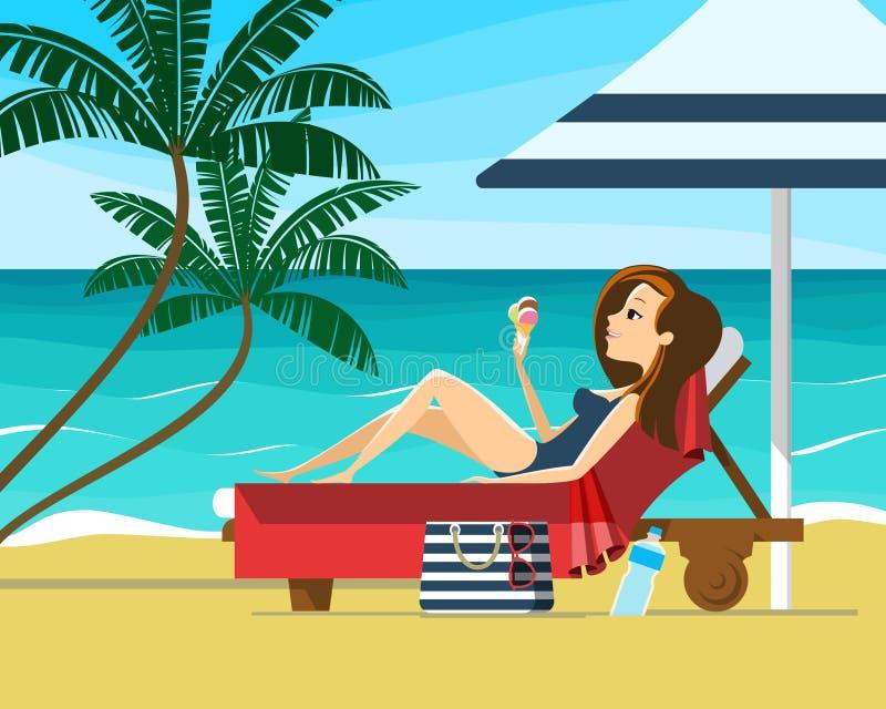 Junge Frau, die auf einem Strand ein Sonnenbad nimmt Mädchen, das auf einem Ruhesessel unter Sonnenschirm auf einem tropischen St lizenzfreie abbildung