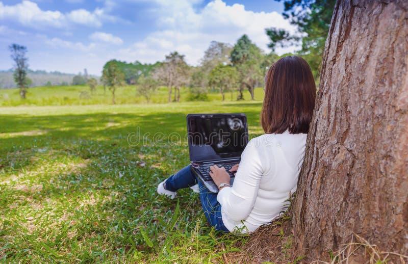 Junge Frau, die auf grünem Gras am Parksommertag bei der Anwendung des Laptops sitzt stockfotos