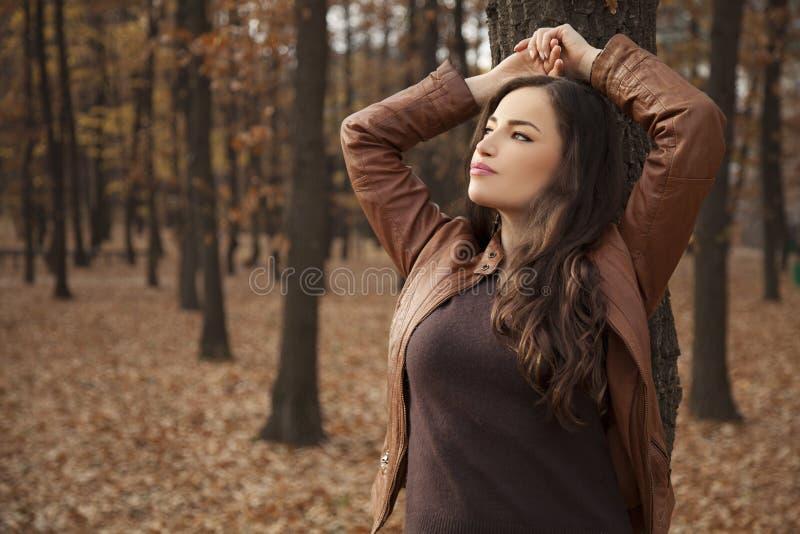 Junge Frau, die am Baum betrachtet den Himmel sich lehnt stockbild