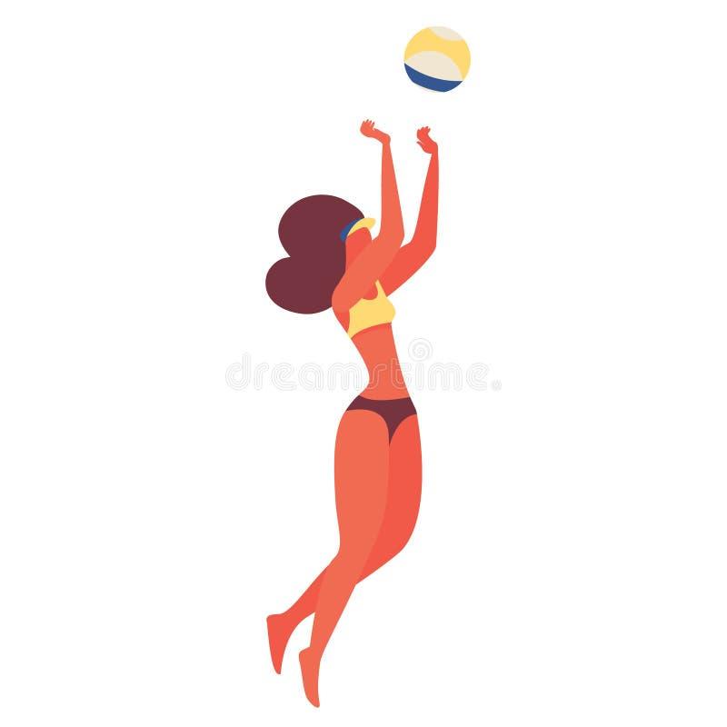 Junge Frau, die Beachvolleyball spielt Sprungcharakter in Badeanzug isoliert auf weißem Grund Vector-Szene lizenzfreies stockfoto