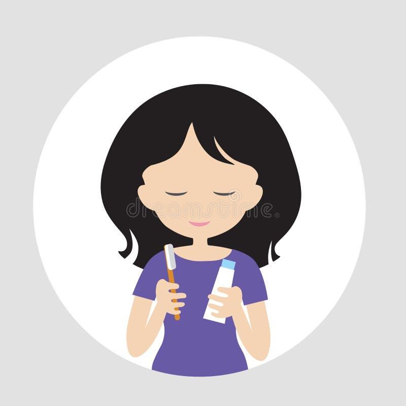 Junge Frau, die in der Hand vor Griff des Spiegels lächelt und steht lizenzfreie abbildung