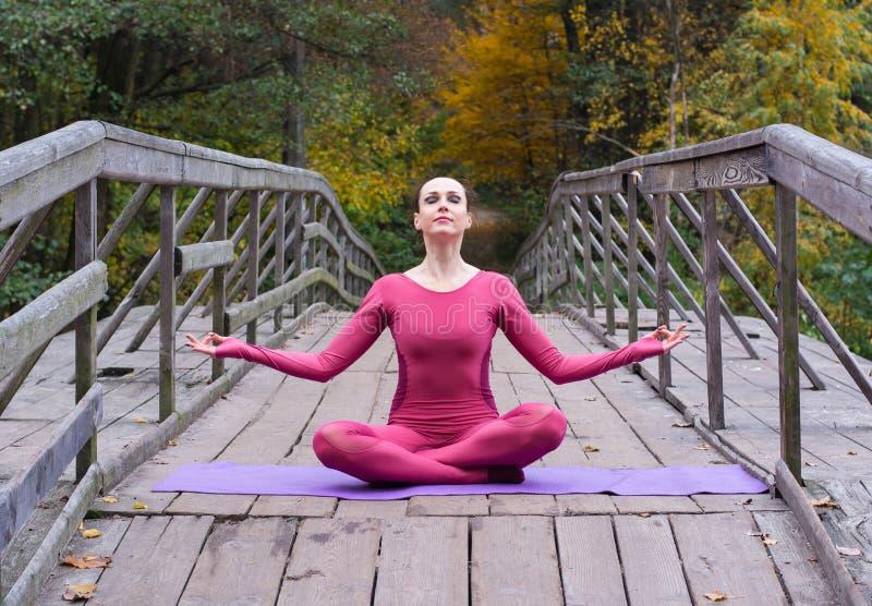 Junge Frau, die in der Yogalage auf Holzbrücke im Park steht lizenzfreie stockfotografie