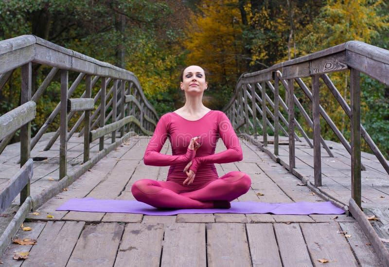 Junge Frau, die in der Yogalage auf Holzbrücke im Park steht lizenzfreies stockbild