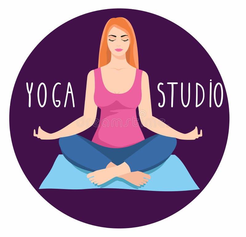 Junge Frau, die in der Yogalotoshaltung sitzt Meditierende Mädchenillustration vektor abbildung