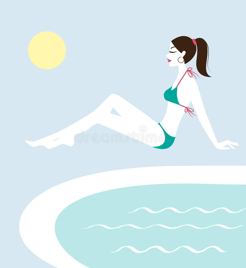 Junge Frau, die durch das Pool sitzt lizenzfreie abbildung