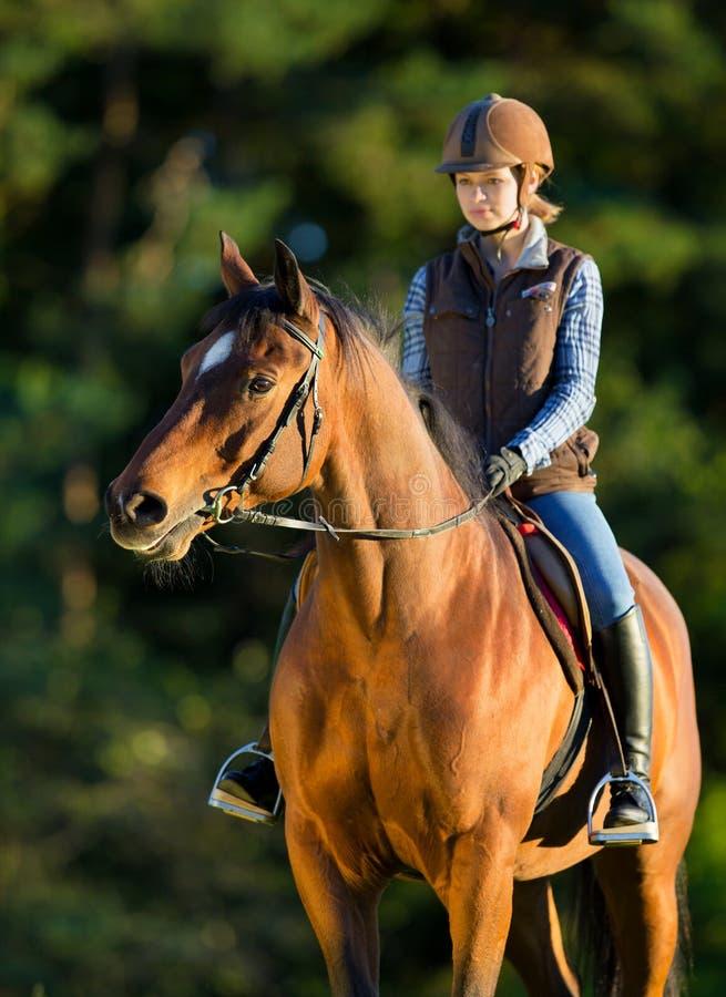 Junge Frau, die ein Pferd reitet. stockbild