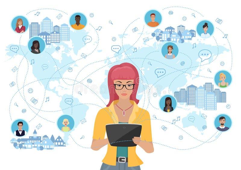 Junge Frau, die eine Tablette hält und Leute auf der ganzen Erde mitteilt Konzept des Sozialen Netzes und des Social Media stock abbildung