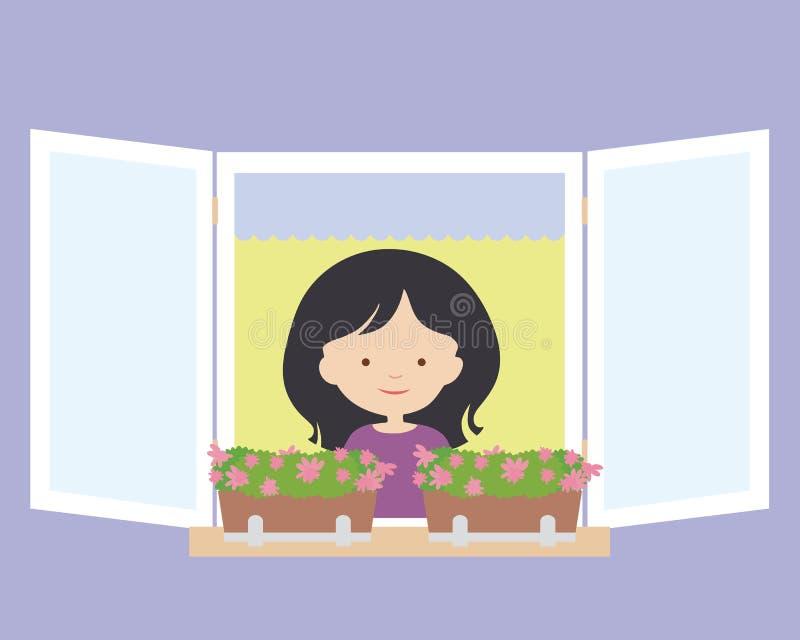 Junge Frau, die in einem offenen Fenster mit Blume p steht und lächelt stock abbildung