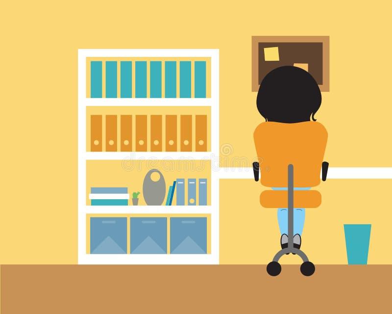 Junge Frau, die in einem Raum auf einem Stuhl am Tisch und am Abfall sitzt vektor abbildung