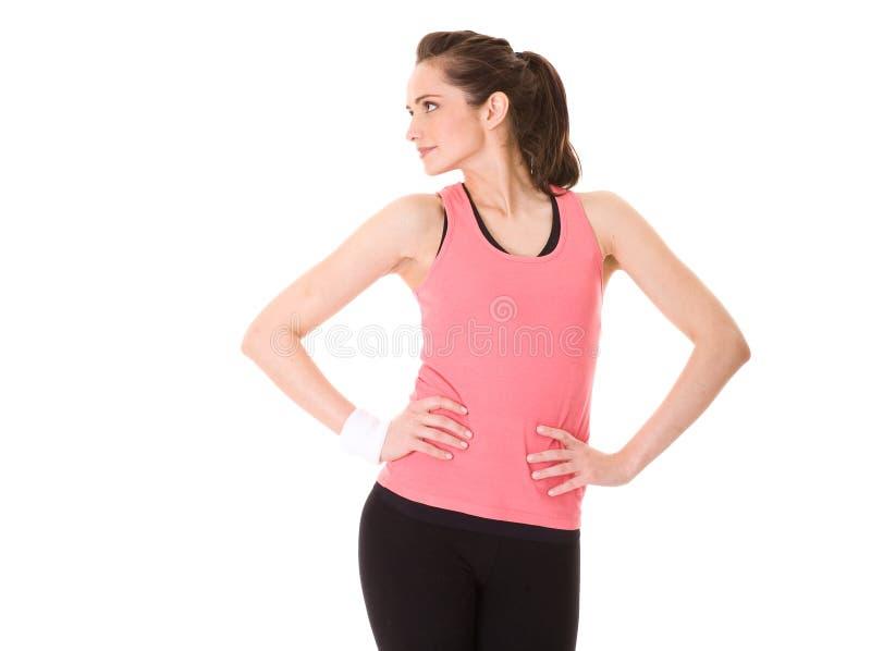 Junge Frau, die einige Übungen, getrennt tut stockfotos