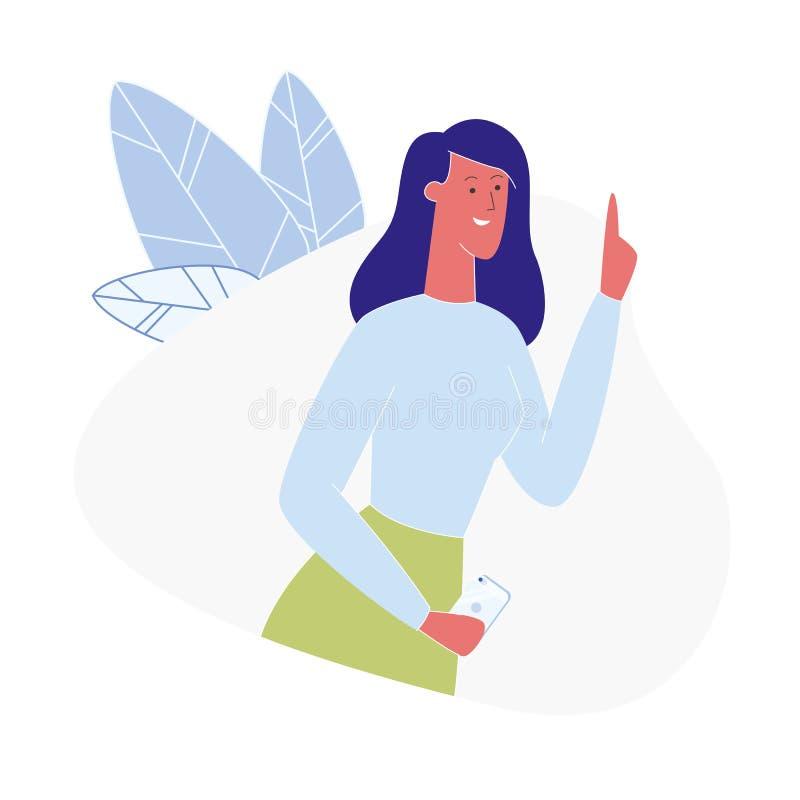 Junge Frau, die flache Illustration Vektor der Idee hat lizenzfreie abbildung