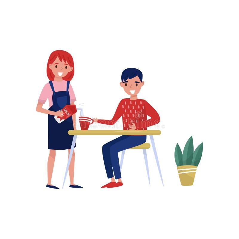 Junge Frau, die frische Milch in der Kaffeetasse des Ehemanns s gießt Lächelnder Mann, der hinter Tabelle sitzt Flache Vektorillu stock abbildung