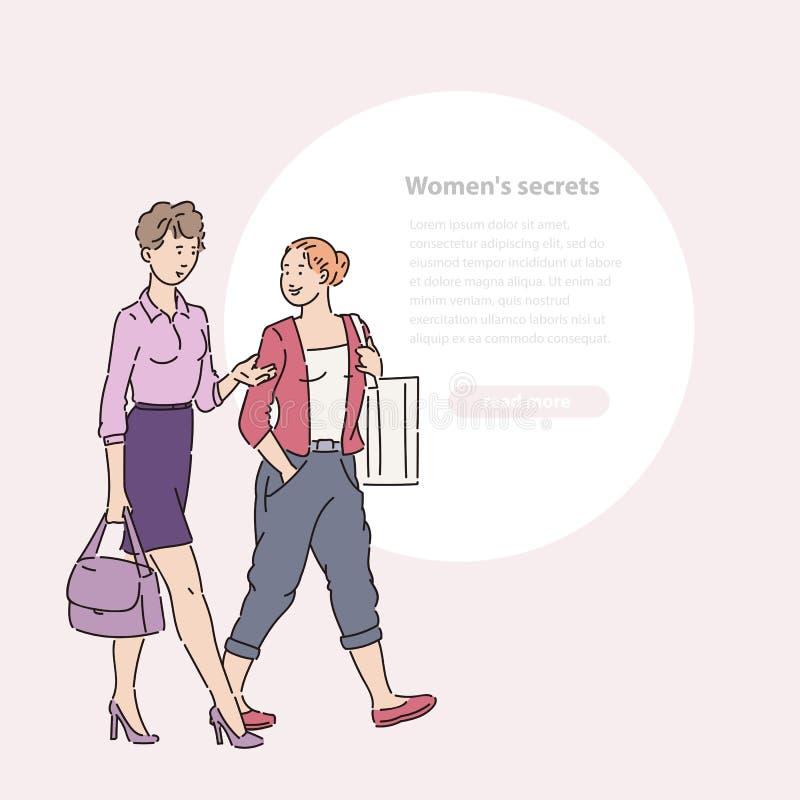 Junge Frau, die hinunter Straße und die Unterhaltung geht Gehen Sie und plaudern Sie zwei Freundinnen in der Sommerzeit-Vektorlin stock abbildung