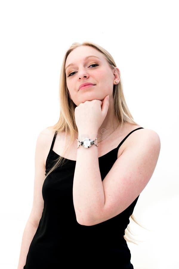 Download Junge Frau, Die Ihre Uhr Betrachtet Stockfoto - Bild von schönheit, manager: 26370362