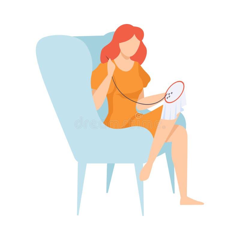 Junge Frau, die im Lehnsessel sitzt und auf Segeltuch, Hobby, Näharbeit-Vektor-Illustration stickt lizenzfreie abbildung