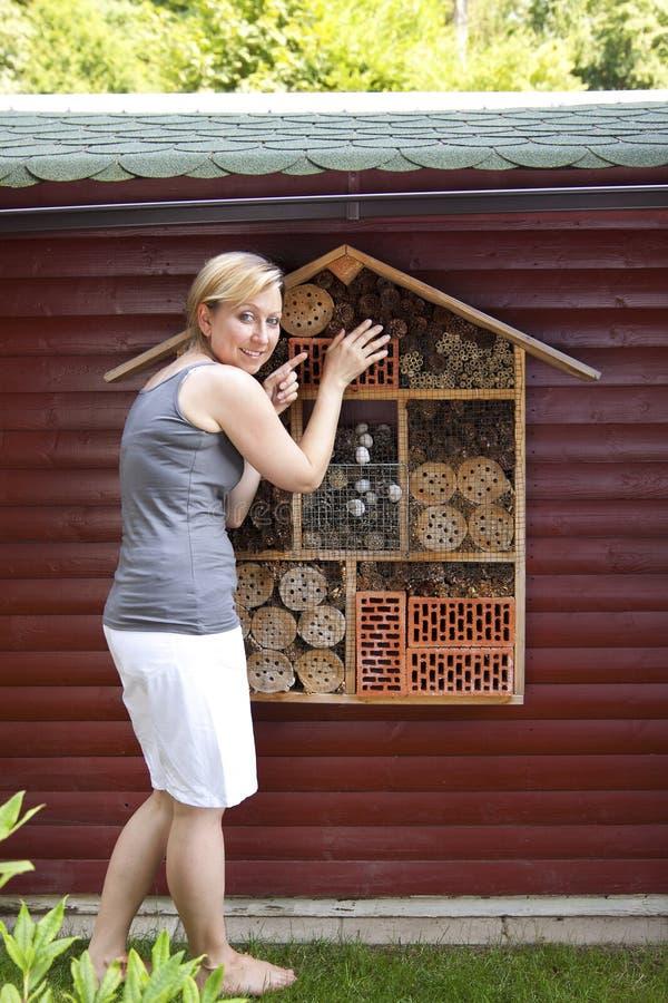 Junge Frau, die Insektenhotel zeigt stockbild