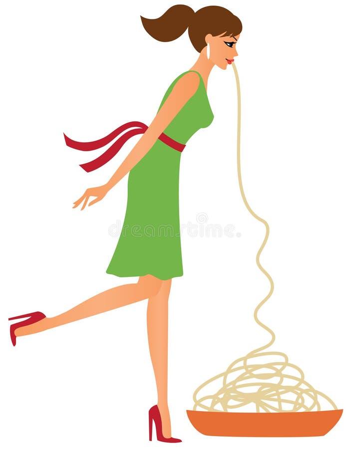 Junge Frau, die Isolationsschlauch isst lizenzfreie abbildung
