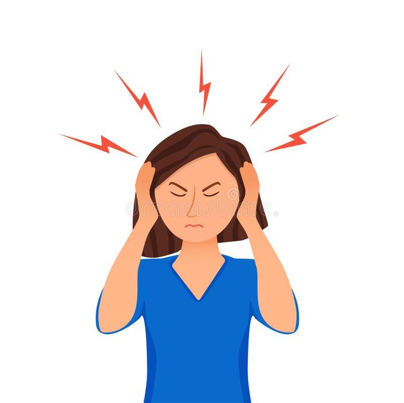 Junge Frau, die Kopfschmerzenkarikaturillustration hat Betontes Mädchenporträt lizenzfreie abbildung