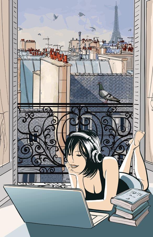 Junge Frau, die mit Computer in Paris unterhält stock abbildung