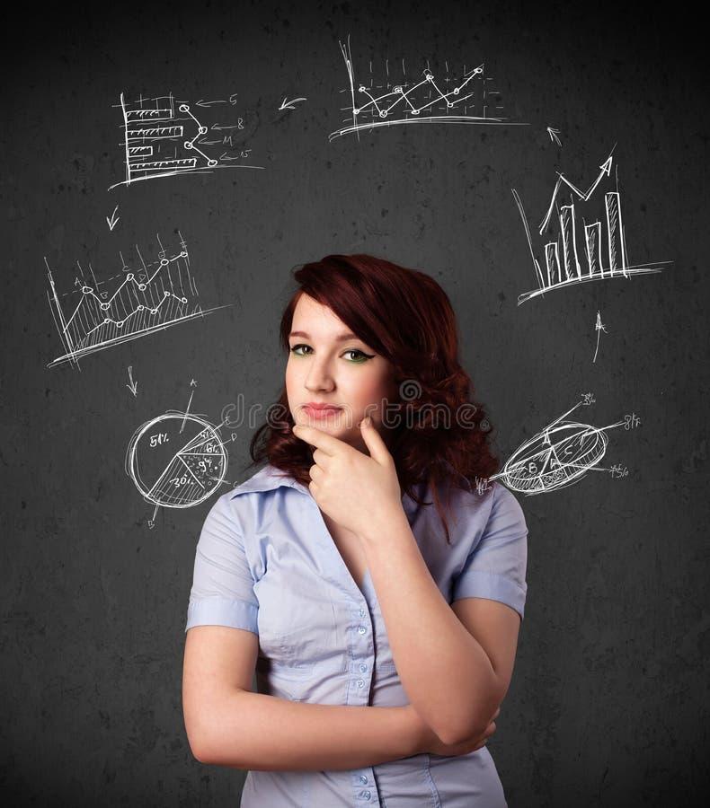 Junge Frau, die mit Diagrammzirkulation um ihren Kopf denkt stockbilder