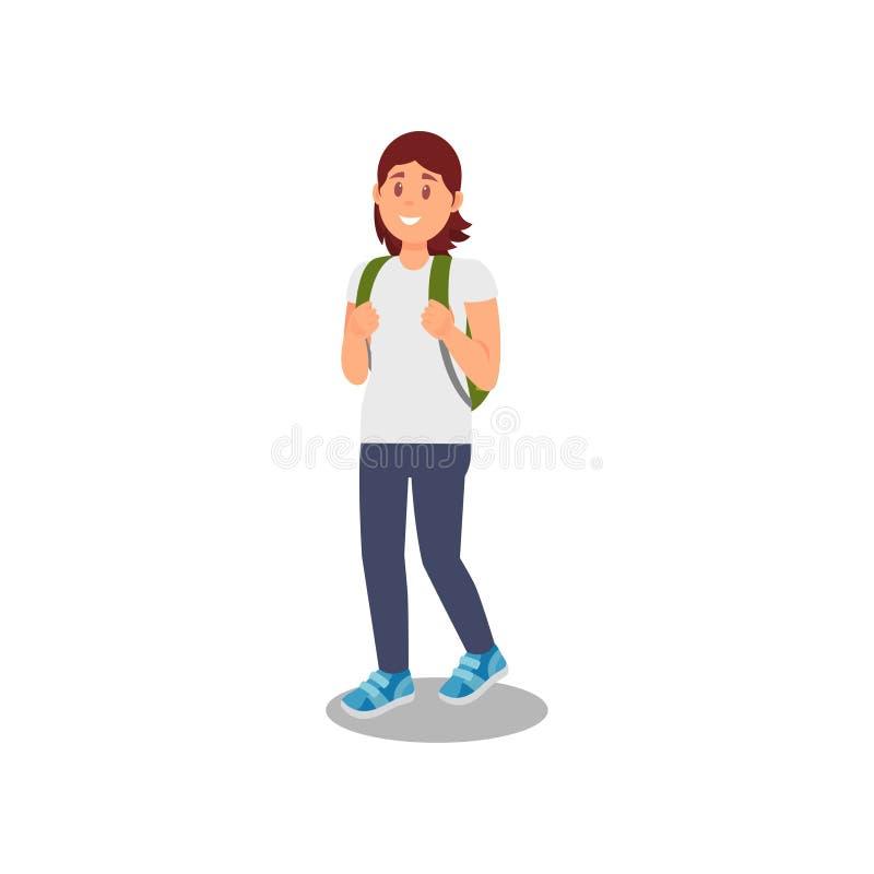 Junge Frau, die mit Rucksack, gesunder und aktiver Lebensstilvektor Illustration auf einem weißen Hintergrund geht stock abbildung