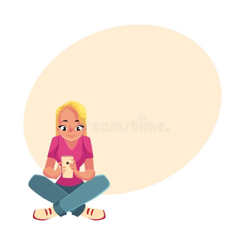 Junge Frau, die mit Smartphonehandy, sitzende Beine gekreuzt spielt vektor abbildung
