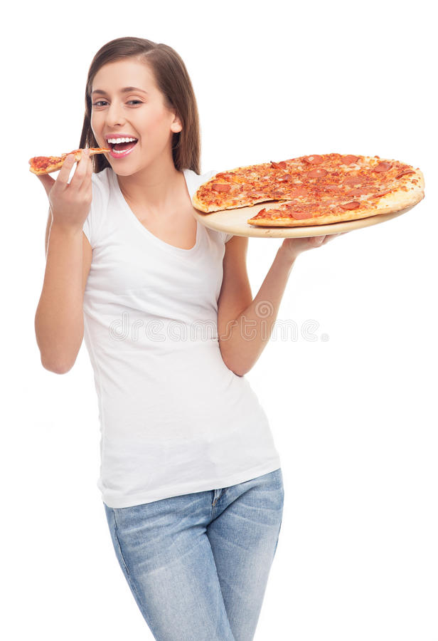 Junge Frau, Die Pizza Isst Stockbilder