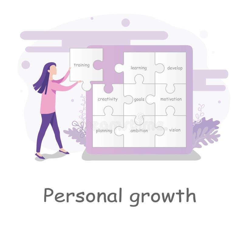 Junge Frau, die Puzzlespielstücke mit Text vorwählt, um auf die Wand in einem Puzzlen des persönlichen Wachstums zu passen vektor abbildung