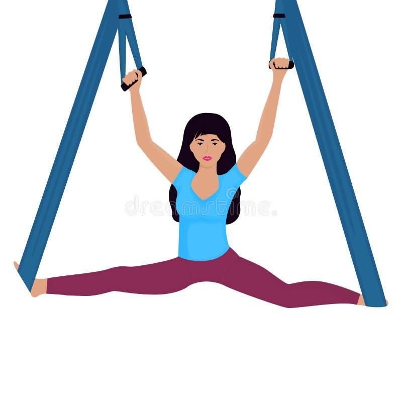 Junge Frau, die Spalten mit Hängemattenvektorillustration tut Nationaler Yogatag vektor abbildung
