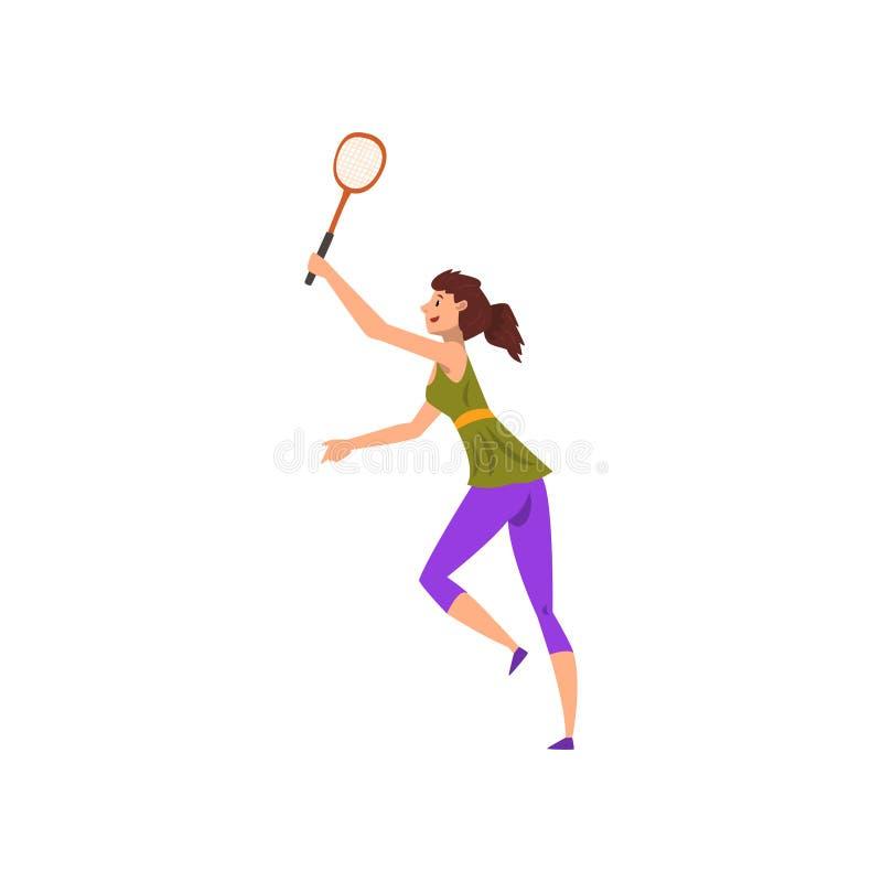 Junge Frau, die Tennis oder Badminton, aktive gesunde Lebensstilkonzeptkarikatur-Vektor Illustration auf einem Weiß spielt lizenzfreie abbildung