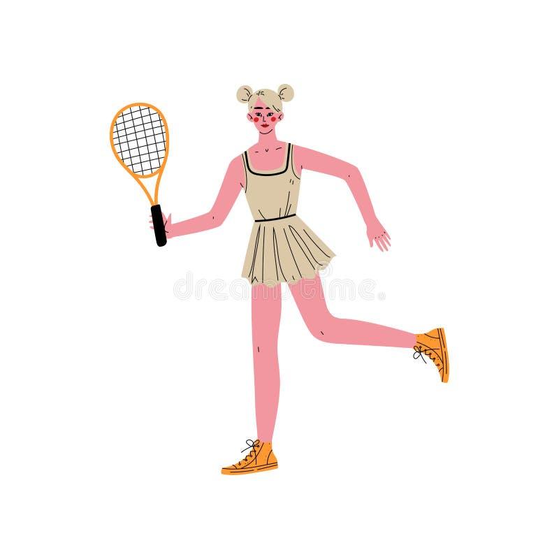 Junge Frau, die Tennis, weiblichen Profisportler Character in der Sportkleidung mit Tennis-Schläger, aktives gesundes spielt lizenzfreie abbildung
