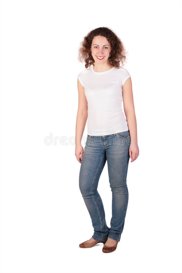 Junge Frau, die volle Karosserie aufwirft lizenzfreie stockbilder