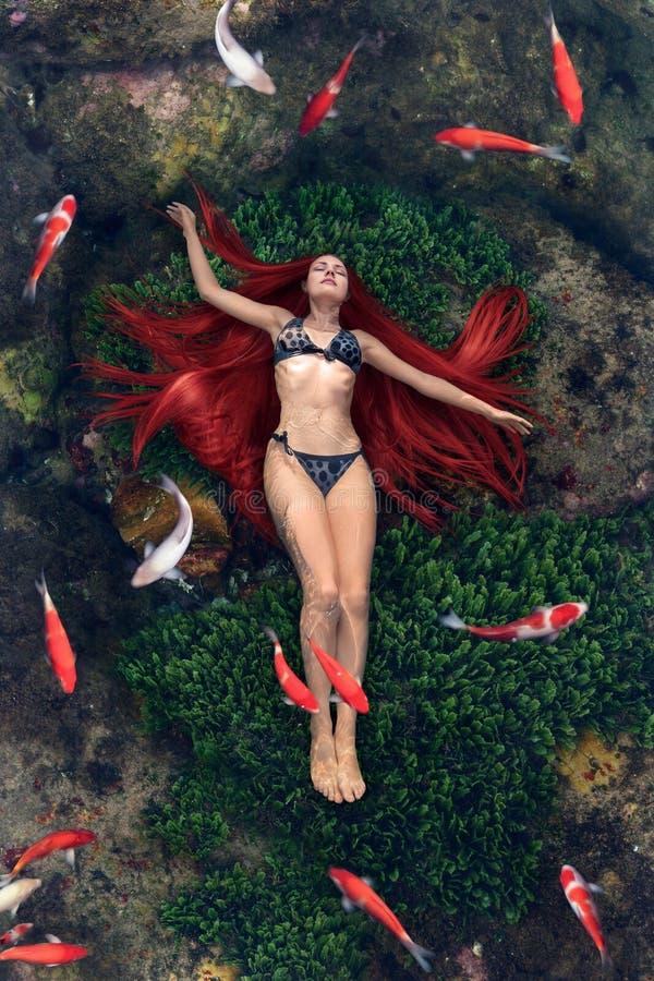Junge Frau, die in Wasser schwimmt stockfotos