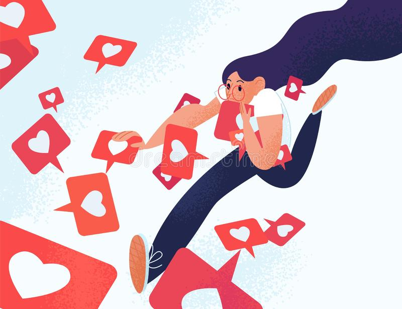 Junge Frau, die wie Mitteilungen läuft und ergreift Mädchen gewöhnt zum Social Media und zum on-line-Feedback Sucht zu stock abbildung